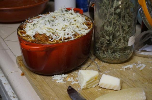 """Leftover Spaghetti """"Lasagna"""""""
