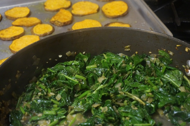 Sautéed Wild Mustard Greens with Dock, Garlic and Onions