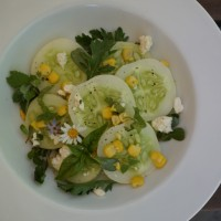 Cucumber Salad with Corn, Feta and Herbs